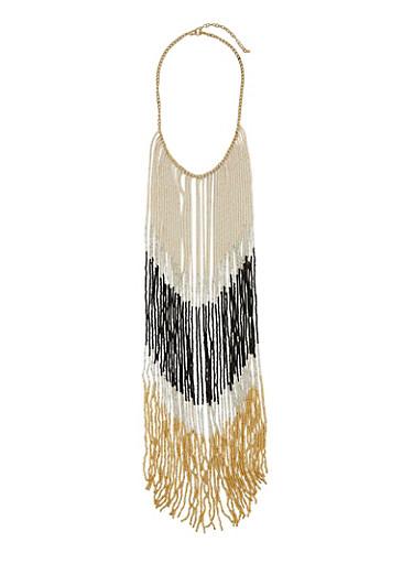 Beaded Fringe Bib Necklace,BLACK,large
