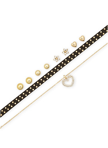Set of 6 Assorted Choker Necklaces and Stud Earrings,GOLD,large