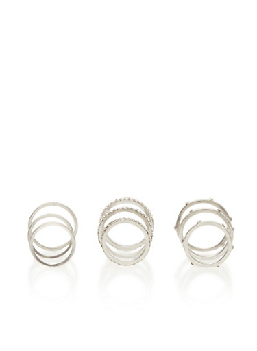 Set of 9 Studded Rings,SILVER,large