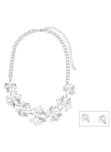 Pearl and Rhinestone Encrusted Leaf Necklace and Earrings Set,SILVER,large