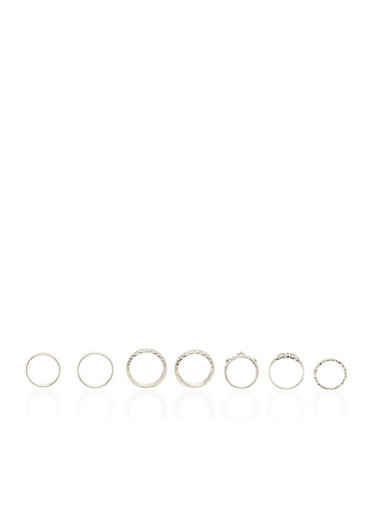 Set of 7 Textured Rings,SILVER,large