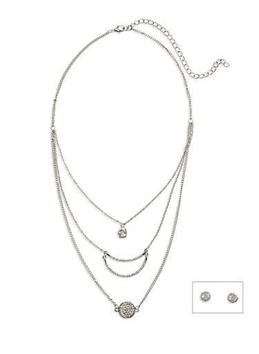 Set of 3 Boho Necklaces with Round Rhinestone Stud Earrings,SILVER,large