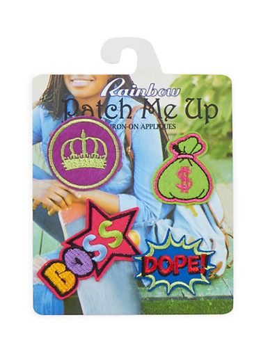 Set of 4 Assorted Iron-On Patches,MULTI COLOR,large