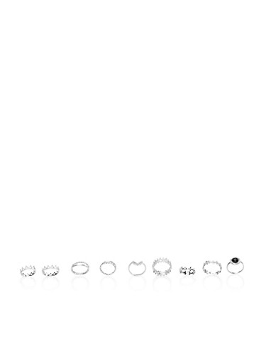 Set of 11 Assorted Stacking Rings with Crown Motif,SILVER,large