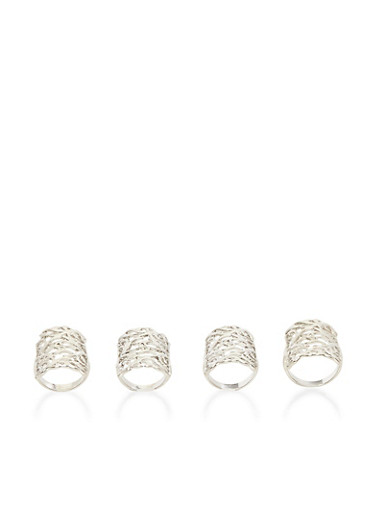 Set of 4 Filigree Rings,SILVER,large