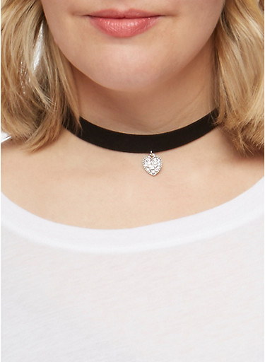 Set of 9 Assorted Chokers and Stud Earrings,SILVER,large