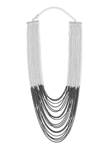 Two Toned Multi Layered Chain Link Necklace,SILVER,large