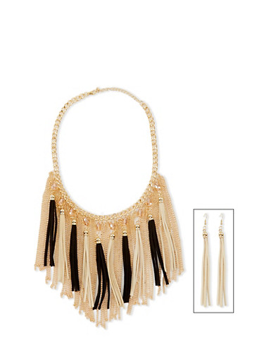 Tassel Chain Fringe Necklace with French Wire Earrings,IVORY,large