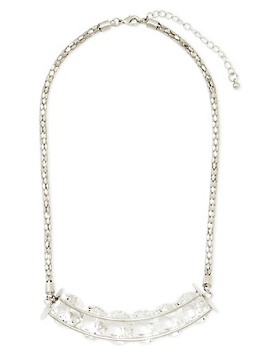 Collar Necklace with 6 Encased Crystals,SILVER,large