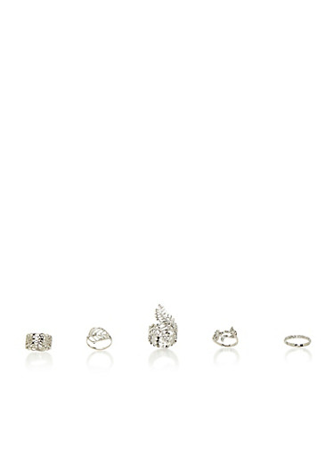 Set of 5 Rings with Crystal Accents and Leaf Designs,SILVER,large