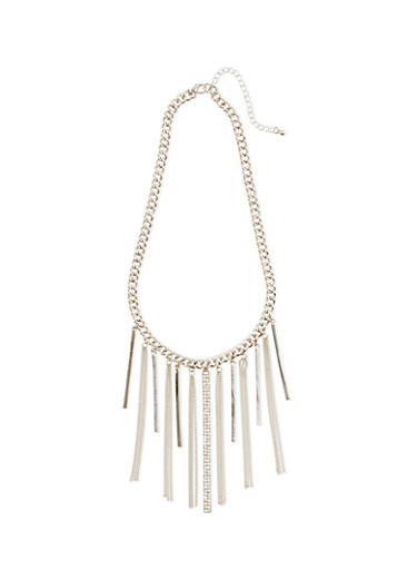 Chain Fringe Necklace with Rhinestone Bar,SILVER,large