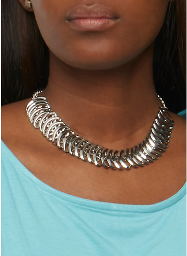 Set of 4 Assorted Chokers with Stud Earrings,SILVER,large