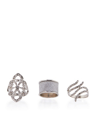 Set of 3 Assorted Rings with Rhinestones and Glitter,SILVER,large