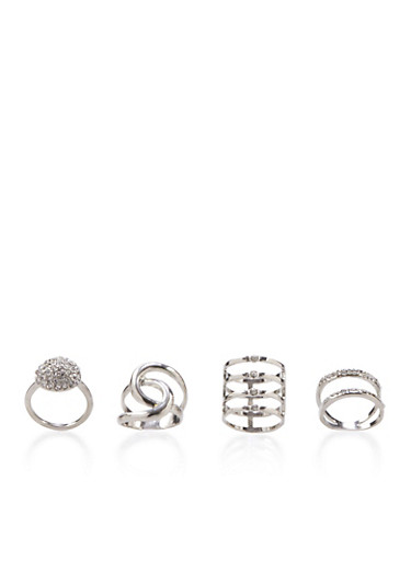 Set of 4 Assorted Rings,SILVER,large