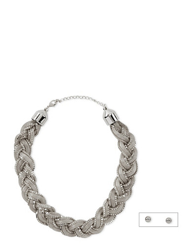 Braided Mesh Necklace and Ball Stud Earrings Set,SILVER,large