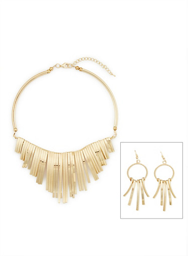 Metallic Fringe Collar Necklace and Earrings Set,GOLD,large