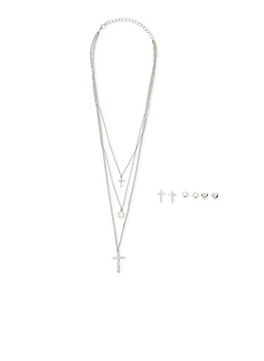 Multi Layered Necklace with Assorted Stud Earring Trio,SILVER,large