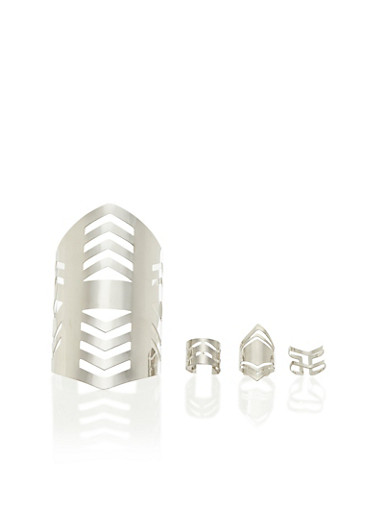 Wide Cuff and 3 Ring Set,SILVER,large
