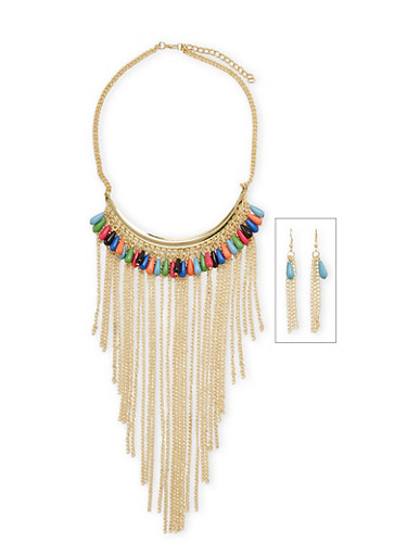 Multicolor Beaded Fringe Collar Necklace Set,MULTI COLOR,large