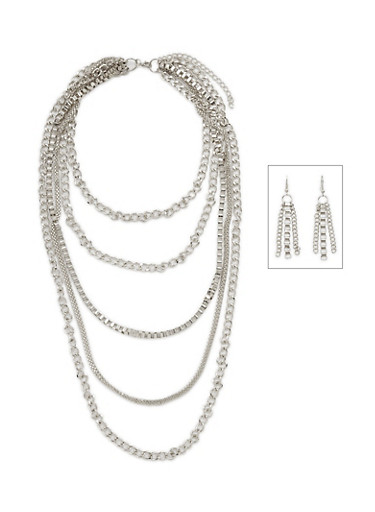 6 Row Multi Chain Link Necklace Set,SILVER,large