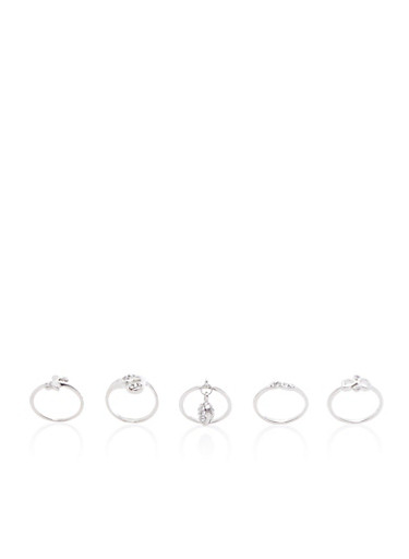 Set of 5 Assorted Stackable Rings,SILVER,large