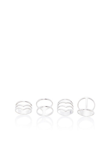 Set of 4 Sculptural Rings,SILVER,large