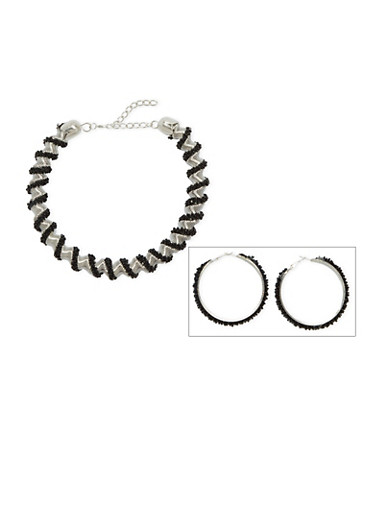 Beaded Twist Necklace with Matching Hoop Earrings,SILVER,large