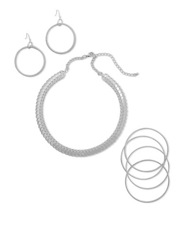 Coil Collar Necklace with Bangles and Earrings Set,SILVER,large