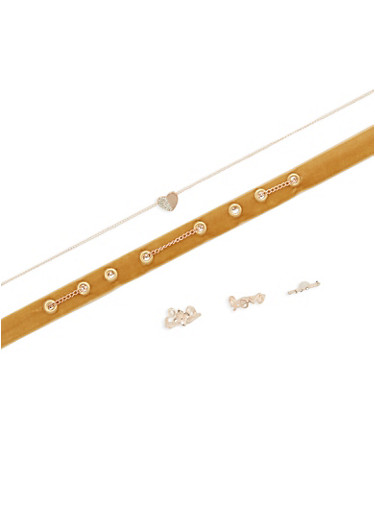 3 Piece Choker with Assorted Rings,TAN,large