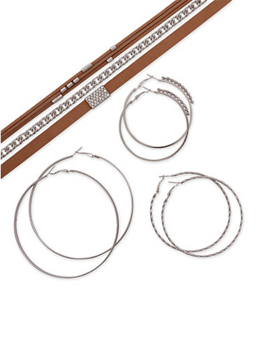 Set of 6 Assorted Chokers and Multi Textured Hoop Earrings,SILVER,large