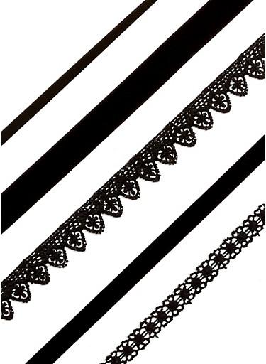 5 Piece Assorted Choker Set,BLACK,large