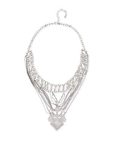 Layered Multi-Chain Necklace,SILVER,large