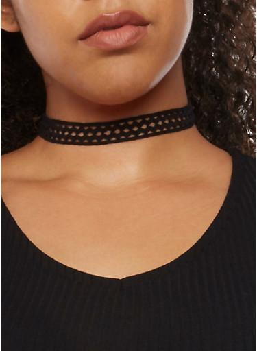 5 Piece Assorted Crochet Faux Suede Choker Set,BLACK,large