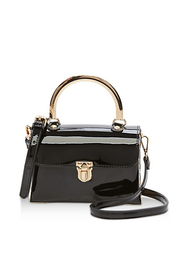 Small Studded Patent Leather Crossbody Bag,BLACK,large