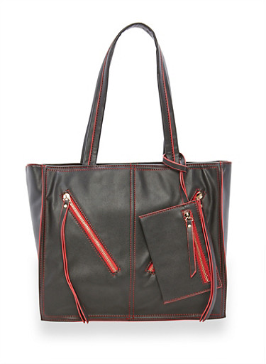Faux Leather Contrast Trim Tote Bag,BLACK/RED,large