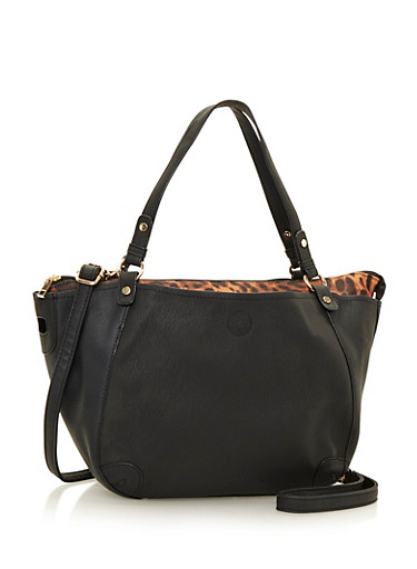 Faux Leather Tote Bag with Printed Pouch,BLACK,large