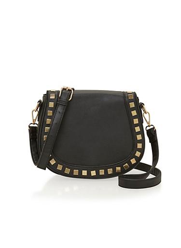 Studded Saddle Crossbody Bag,BLACK,large
