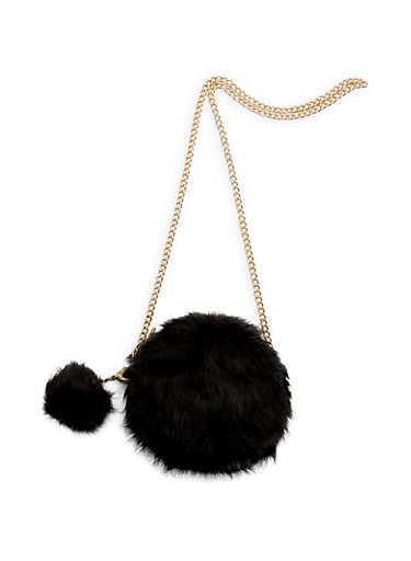 Round Faux Fur Pom Pom Crossbody Bag,BLACK/GOLD,large