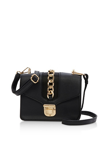 Mini Crossbody Bag with Chain,BLACK,large