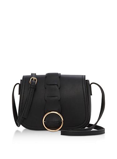 Faux Leather Mini Saddle Bag,BLACK,large