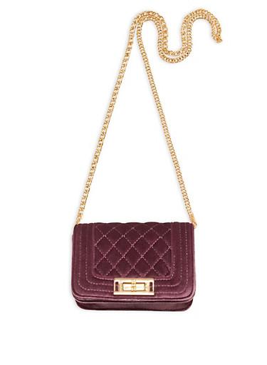 Mini Quilted Velvet Crossbody Bag,MAUVE/GOLD,large