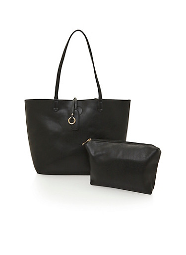 Faux Leather Reversible Tote with Bonus Pouch,BLACK,large