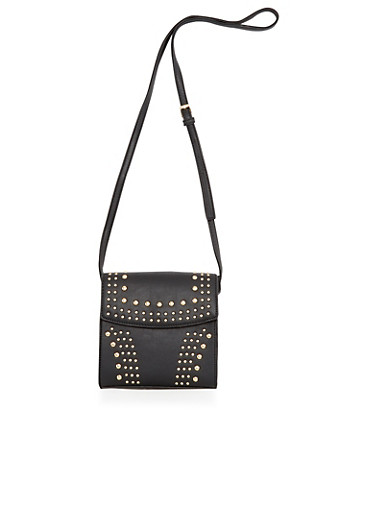 Studded Crossbody Bag in Faux Leather,BLACK/GOLD,large