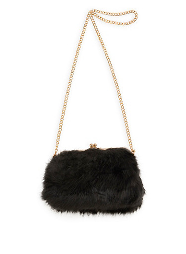 Faux Fur Kiss Lock Crossbody Bag,BLACK/GOLD,large