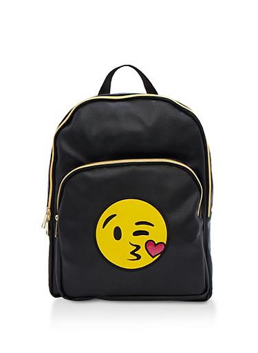 Kiss Emoji Faux Leather Backpack,BLACK,large