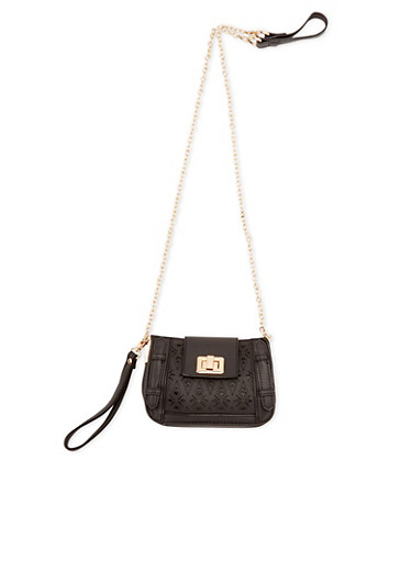 Crossbody Bag in Laser Cut Faux Leather,BLACK,large