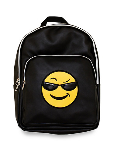 Sunglasses Emoji Graphic Backpack,BLACK,large