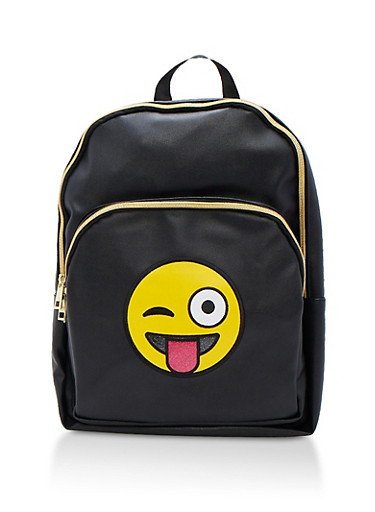 Silly Emoji Faux Leather Backpack,BLACK,large