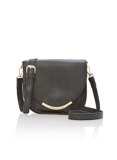 Faux Leather Saddle Bag with Ring Handle,BLACK,large