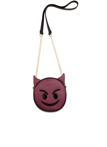 Emoji Crossbody Bag in Color Block Faux Leather,PURPLE,large
